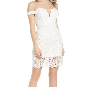 ASTR white lace off shoulder dress